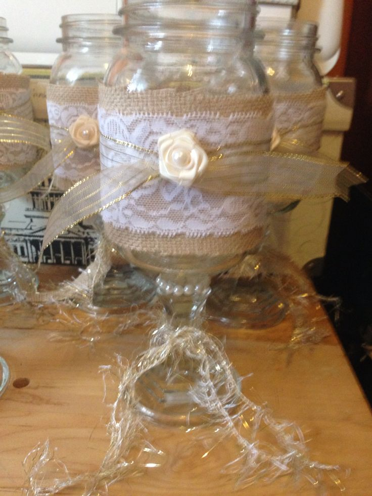 Mason jar centre piece, will hold baby's breath Shabby-chic/50th Anniversary