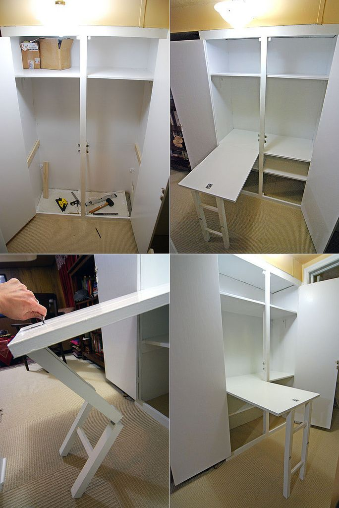 UL: Before UR: After with fold out table. LL: Showing how to swing out the table. LR: After with fold out table.   For the last week I've been building one of my wife's design ideas, converting a closet in the basement to a hobby area.  1. I bought about $200 US in clear poplar boards and started by using a plate/biscuit joiner to glue them together,  2. Cut the supporting members, drill, screw into place.  3. Use a jigsaw and sander to notch out  the shelves, ripped the general dimensions…