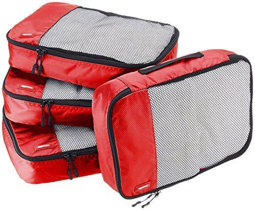 AmazonBasics 4-Piece Packing Cube Set - Medium Red