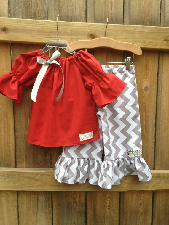NEW.. Grey Chevron Ruffle Pants and Red Tunic Top. PERFECT for Christmas.. Size on Etsy, $48.00