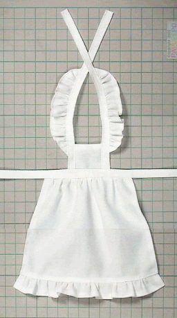 フリルエプロン(ワイシャツリメイク) 「パプペポ」着せ替え人形の手作り服の作り方