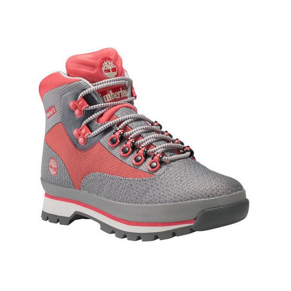 Women's Timberland Euro Hiker Jacquard Hiking Boot ($120) ❤ liked on Polyvore featuring shoes, boots, ankle booties, ankle boots, short boots, lace up ankle bootie, lace up booties, hiking boots and gray ankle boots