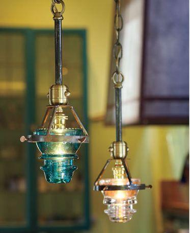 another take on railroad insulator pendant lights.Pendants Lamps, Trav'Lin Lights, Insulators Lights, Napa Style, Pendant Lights, Pendants Lights, Lights Ideas, Glass Insulators, Glasses Insulators