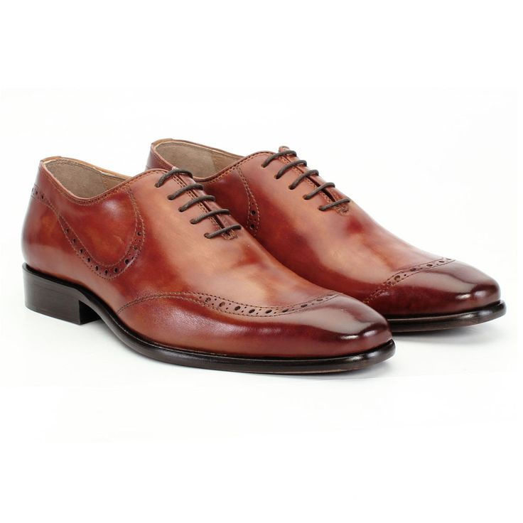 Buy online #HAND PAINTED TAN LEATHER FORMAL SHOES BY #BRUNE @ voganow.com
