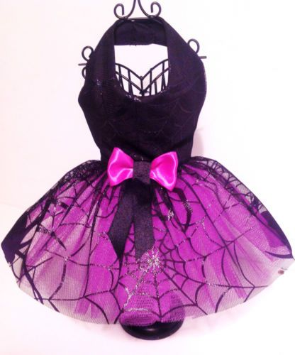 Dog Dresss Halloween Fancy Dress costume Spider Web with Lavender net and bow | eBay