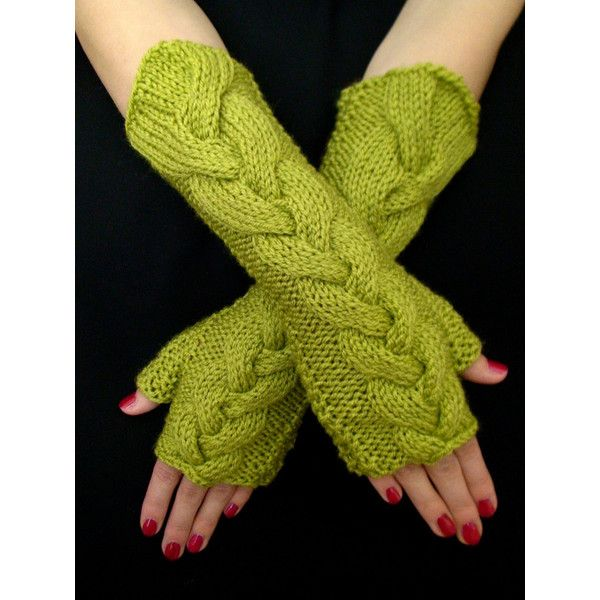 Fingerless Gloves Long Asparagus Light Green Lime Chartreuse Cabled... ($38) ❤ liked on Polyvore featuring accessories, gloves, extra long gloves, cable knit gloves, cable knit fingerless gloves, lime green gloves and fingerless gloves