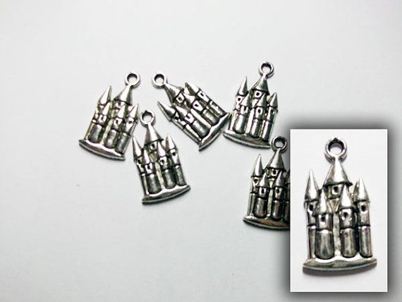CLEARANCE Antique silver fairy castle charm by rabbitssupplies