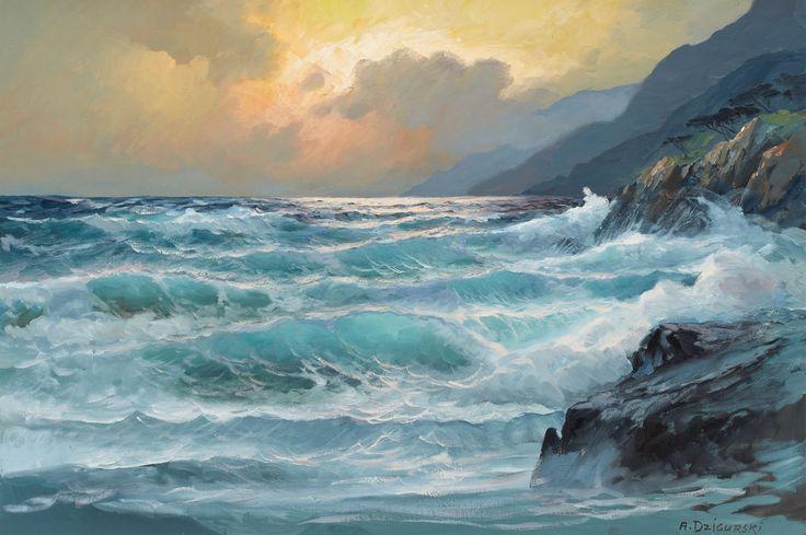 Pintura del mar con olas, de  Alex Dzigurski.