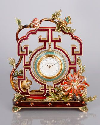"""Chrysanthemum Clock by Jay Strongwater at Horchow. 7.25"""" W X 3.5"""" D X 8""""T"""
