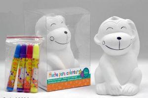 Detalle infantil hucha Mono de ceramica para pintar para regalar a los niños #Grandetalles