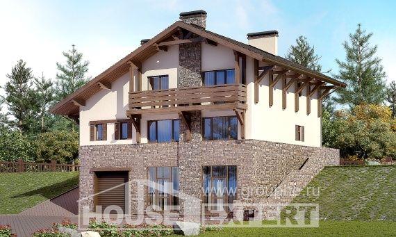 305-002-L Projekt domu trzykondygnacyjnego pięterko mansardowe i garażem, duży domek wiejski z cegieł, Koszalin