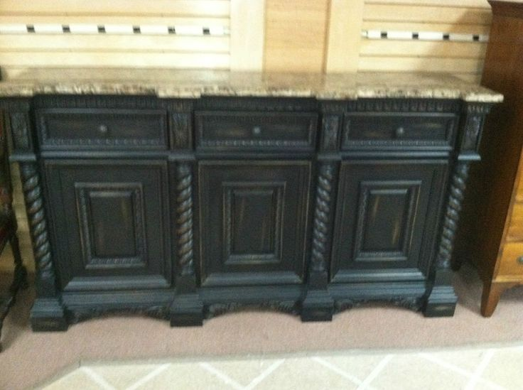 Gorgeous Large Sideboard Or Buffet Painted Black With Marble Top