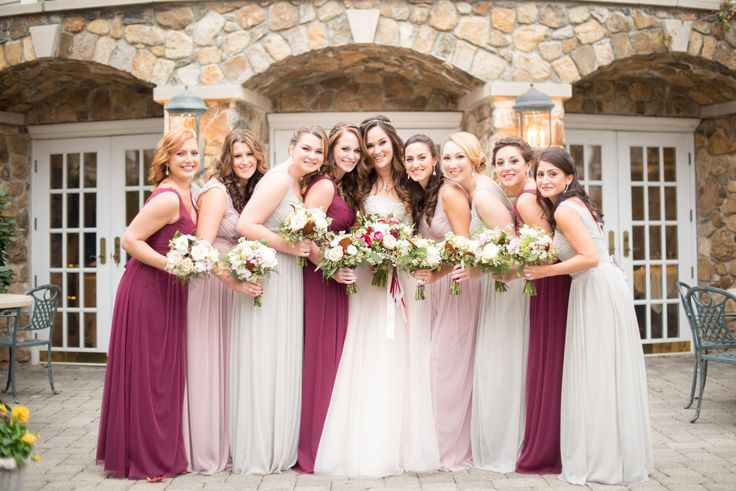 Olde Mill Inn New Jersey wedding by Mikkel Paige Photography, NYC and Raleigh wedding photographer. Bridal wedding party fall photos with burgundy, grey and dusty rose gowns.