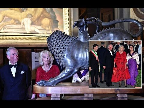 The Duchess of Cornwall Elegance in Red Satin Dress with Black Embossed Flowers by Anna Valentine