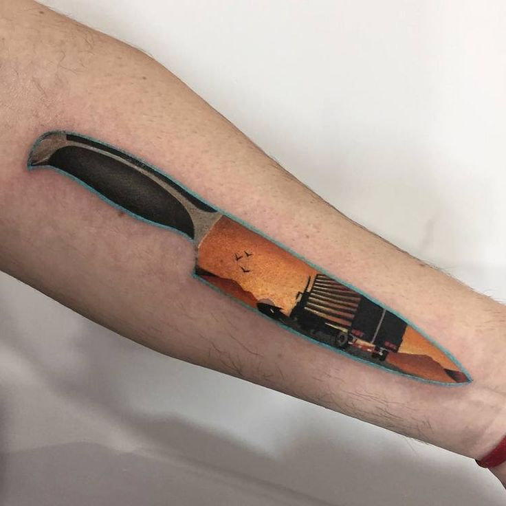 Knife/Landscape Tattoo on Forearm by dariastahp