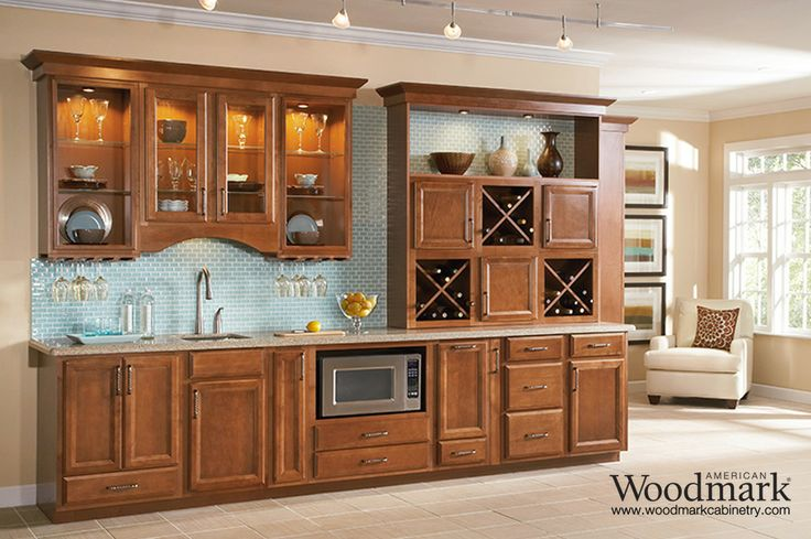 Ashland maple cognac wetbar other spaces hutches for American maple kitchen cabinets