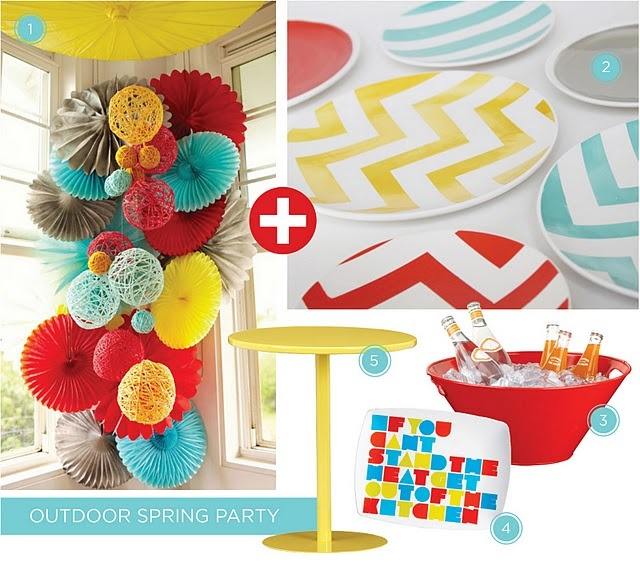 Outdoor Spring Party: Aqua, Red & Yellow