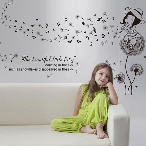 Wall sticker with decorative theme girl playing music