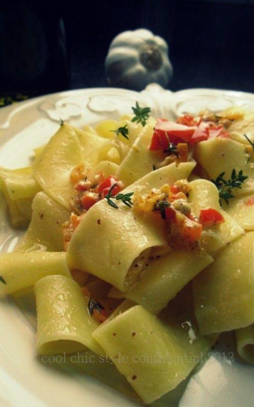 Pappardelle sciuè sciuè con peperoni e senape | Honest Cooking Italia