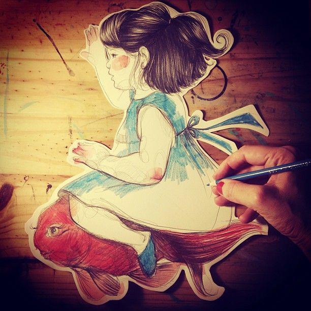 Paula Bonet trabajando en las ilustraciones para el que sera el libro pop-up más bonito del mundo · ¿Quieres más? Puedes ver otras ilustraciones de #paulabonet aquí: www.gnomo.eu/paulabonet