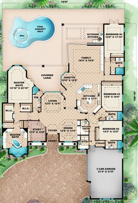 Mediterranean Style House Plan - 4 Beds 5 Baths 3985 Sq/Ft Plan #27-420 Main Floor Plan - Houseplans.com