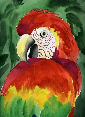 """Parrots - Author says: """"It is a favorite with the kids as they are amazed they can paint a parrot. I typically do it with Grade 5 but it is applicable from Grade 4 up I think."""" Links to a full how-to page!"""