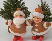 Christmas in July - Vintage Santa and Mrs. Claus Ornaments, Ice Skating Retro Christmas Decorations 1960s: Vintage Santa, Christmas Decorations