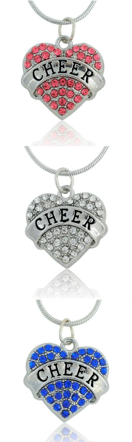 Crystal CHEER Heart Necklace! Click The Image To Buy It Now or Tag Someone You Want To Buy This For.  #Cheerleader