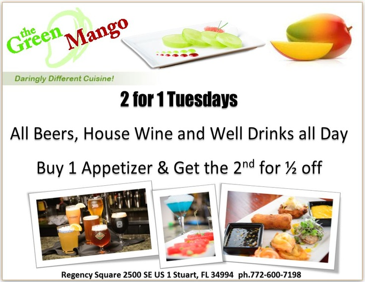2 for 1 Tuesdays at the Green Mango: Wwwmckiabiz Adverti