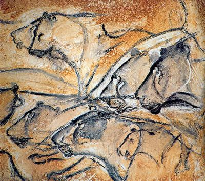 Chauvet Cave Painting of Lions.  What an amazing use of persective... the artist puts you in with the lions like you are hunting with them... Pretty awesome for something drawn in the prehistoric age