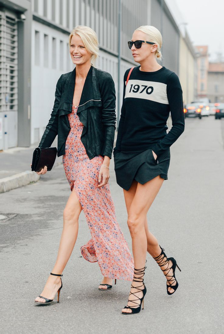 Chic friends: moto jackets, floral frocks, strappy heels // via Tommy Ton