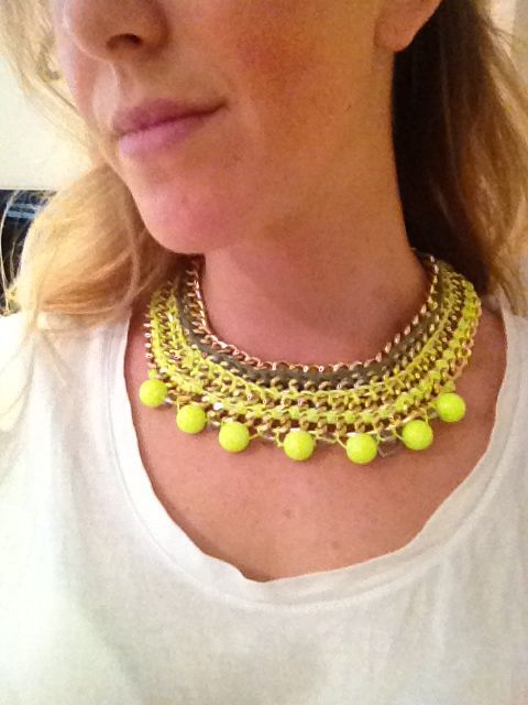 Statement necklace with chans, beads and crochet. Made by me