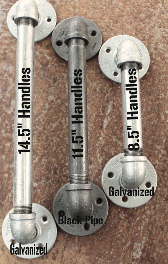 2 Industrial Door Handles - Galvanized Pipe Door pulls, Industrial Pipe door…