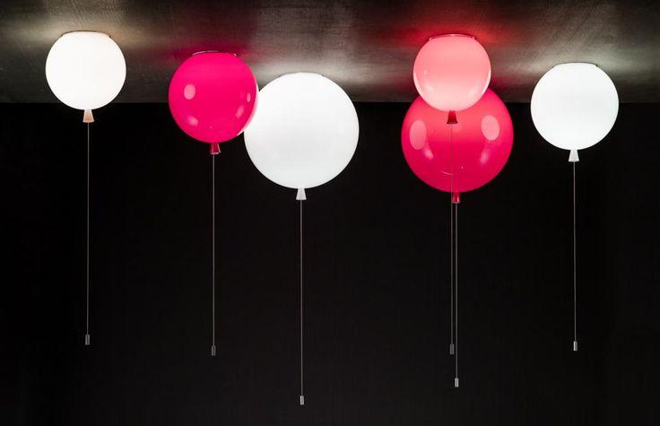 Grey Interior - Brokis lights - Red, orange and white balloons Memory are hanging lights. Design by Boris Klimek.