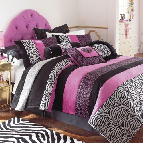 Girls Pink Black Zebra Animal Fur Polka Dot Bedding Comforter Sheets Queen  Full