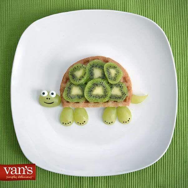 Turtle fruit waffle kiwi and green  grapes adorable
