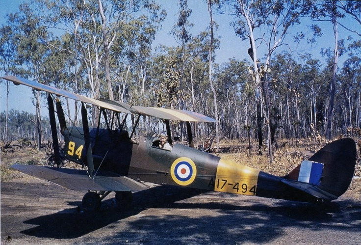 "Tiger Moth pictured at the Flying Training School, Darwin, Australia - 1942 ""Woah, desert tiger!"" KB"