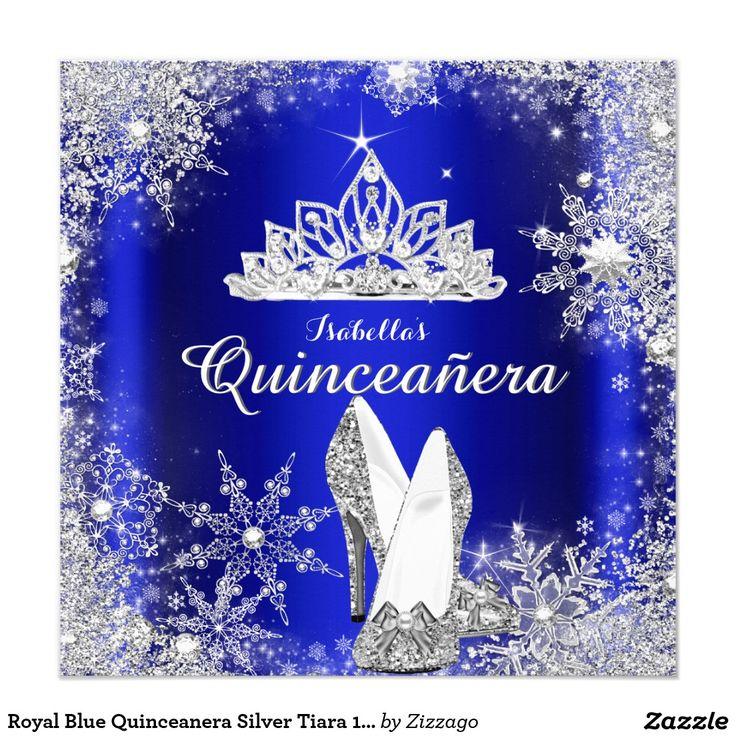 Royal Blue Quinceanera Silver Tiara 15th Birthday 5.25x5.25 Square Paper Invitation Card