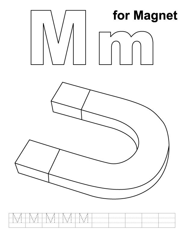 M For Magnet Coloring Page With Handwriting Practice Kids Handwriting Practice Alphabet Coloring Pages Kindergarten Worksheets Printable