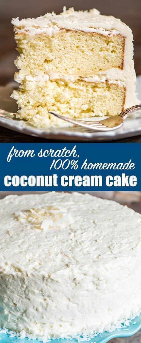From scratch coconut cake recipe with homemade coconut cream frosting. Hints for making a fluffy white cake with an excellent vanilla coconut flavor. Coconut Cake Recipe From Scratch {Homemade Coconut Cream Frosting} #cake #coconut #homemade via @thebestc