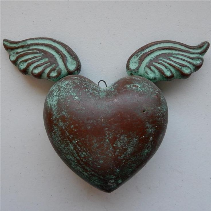 "Heart with Wings ""Corazon con Alas"", Winged Heart Mexican Pottery Folk Art #Mexico #loscocosstore"