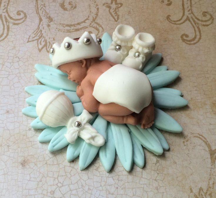 BABY BOY BAPTISM CAKE TOPPER