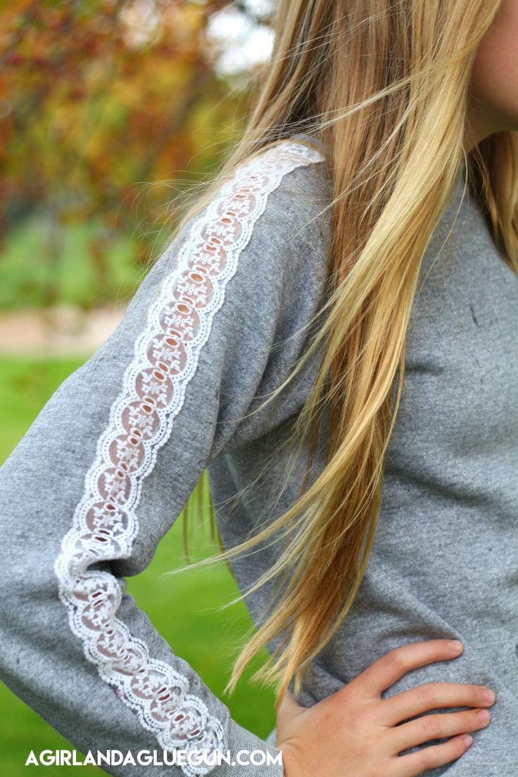 lacy sleeve  on an old gray sweatshirt!