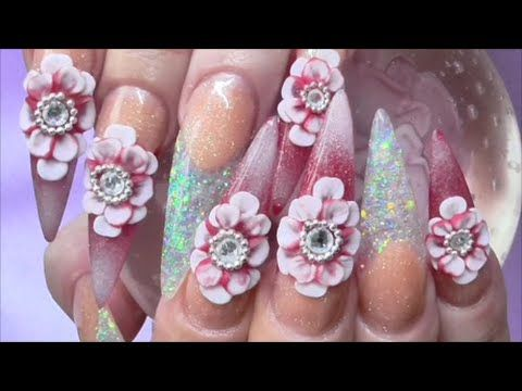 BLOOD RED ICE CRYSTAL ACRYLIC NAILS Uñas de acrílico cristal de hielo | ...