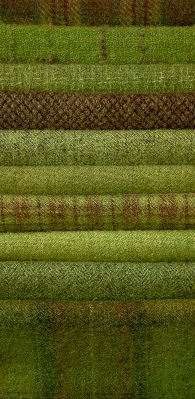 Green and brown wool blankets.