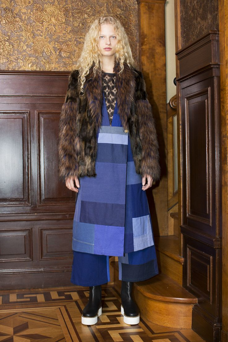 Rodebjer FW16: Jacket Patrice Brown, Dress Barbara Patch Workwear Blue, Top Keanna Lace Black, Shoes Mary Black.