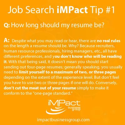 16 Best IMPact Job Search \ Career Tips Images On Pinterest   How Long  Should A  How Long Should A Resume Be