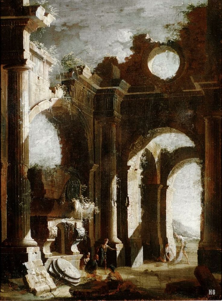 Architectural Capriccio. Figures in a ruined arcade. early 18th.century. Leonardo Coccorante. Italian. 1680-1750. oil on canvas.