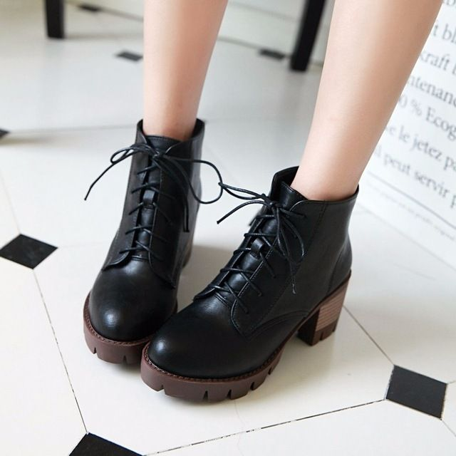Plus size das mulheres do salto robusto sapatos botas lace up plataforma martin motocicleta botas de salto alto outono meninas botas de combate sapatos rock