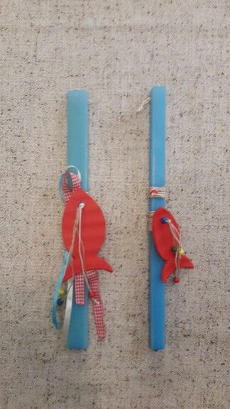 "Handmade easter candles by Glykeria. ""The red fish"""